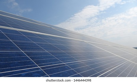 Solar panels and blue sky. Solar panels system power generators from sun. Clean technology for better future