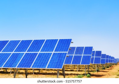 Solar panels with blue sky,China