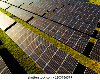 Solar panels  (solar cell) in solar farm with sun lighting to create power energy  Concept of clean electric power and of sustainable resources