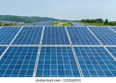 solar panels closeup for new energy on mountain