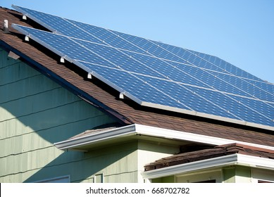 Solar panels close-up on roof