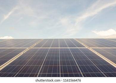 Solar panels closeup on sky background