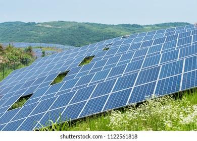 solar panels closeup for renewable energy on mountain