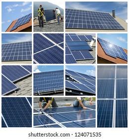 Solar panels collage
