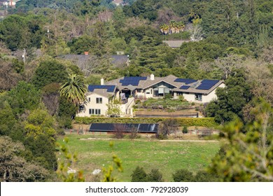 Solar panels covering the rooftop of a house in Los Alto Hills, south San Francisco bay, California