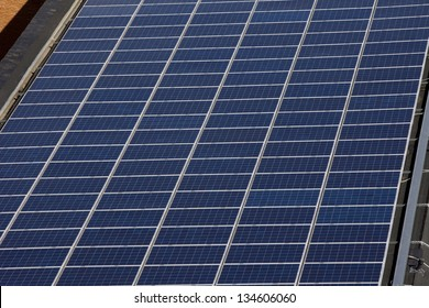 Solar Panels.  Detail of a installation of solar panels on a roof