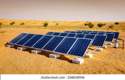 Solar panels in Dubai Desert Conservation Reserve, UAE