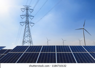 Solar panels with electricity pylon and wind turbine Clean power energy concept
