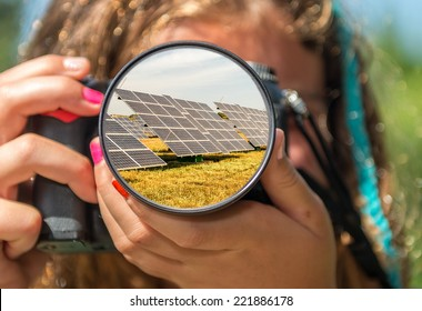 Solar panels from the eyes of a little girl.