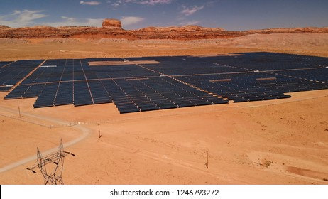 Solar panels field (solar cell) from above. Alternative energy, ecology power conservation concept. Aerial view