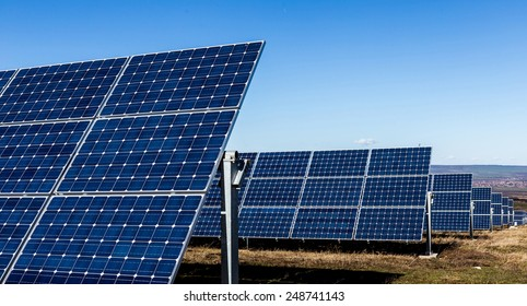 Solar panels in the fields of countryside
