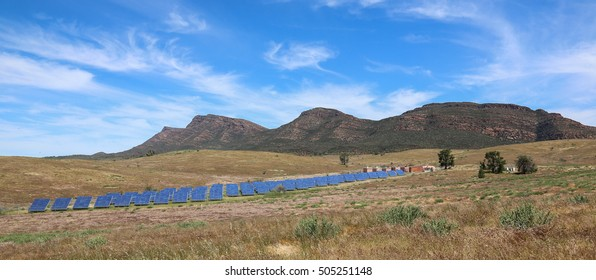 Solar panels in the Flinders Ranges National park, the largest off-grid solar electricity system in Australia