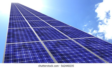 Solar panels flying towards blue sky with bright sun green energy concept 3D illustration