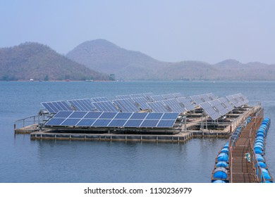 Solar panels generator the industry of modern energy in barrage, Ecologically clean sources of electrical energy.