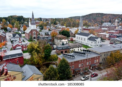 Solar panels grace the roof of an apartment building in this autumn cityscape view of Montpelier, Vermont's state capital.