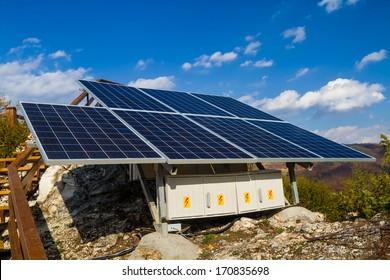 Solar panels instalation with blue sky
