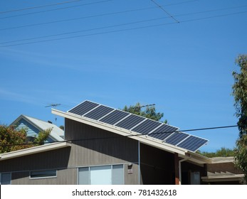 Solar panels installed in a new house in victoria, australia