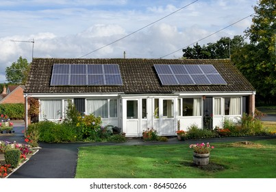 Solar panels installed on domestic roof