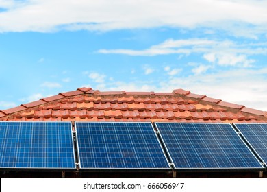Solar panels installed on the house roof in one of the Melbourne suburbs, Victoria, Australia