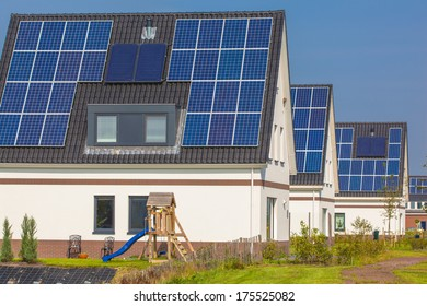 Solar Panels installed on Newly Constructed Houses in a Suburban Area