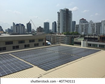 Solar panels installed on the office building to save environment