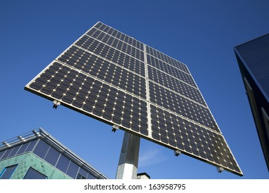 Solar panels installed on a stake that keeps them aimed at the s
