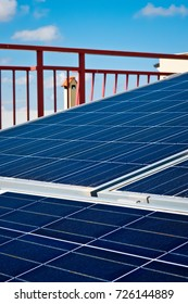solar panels installed on terrace of home.