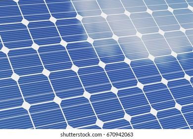 Solar panels isolated om white background. Blue solar panels. Concept alternative energy. 3d illustration