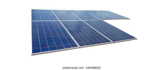 Solar panels isolated on white background. Solar energy concept