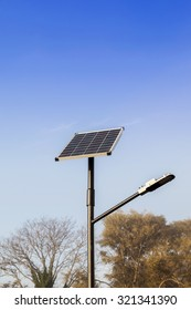 Solar panels located on a park for ecological energy