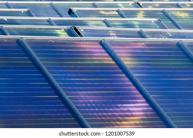 Solar panels making hot water for district heating.
