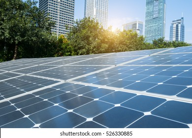 Solar Panels In Modern City