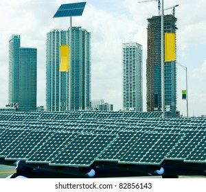Solar panels in the modern city