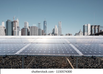 solar panels with modern city new york