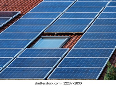 Solar panels modules on house roof in Germany