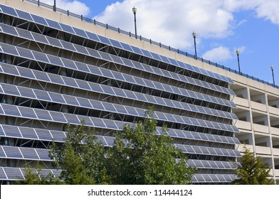 Solar panels mounted on exterior wall of parking garage in Saint Paul Minnesota