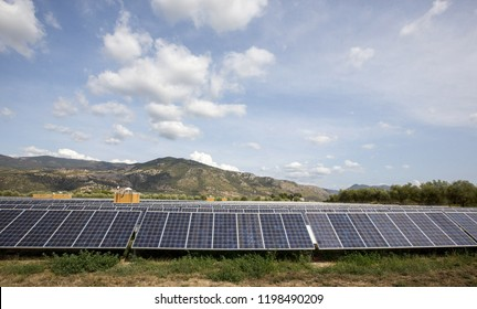 Solar panels near Cori, central Italy