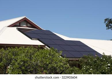 Solar panels on Australian home roof