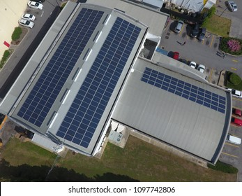 Solar Panels on City Building in Business District in Barbados, Caribbean