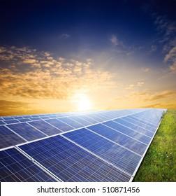 Solar panels on green field under sunset summer sky