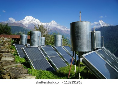 Solar panels on a hillside in the Himalayas. Renewable electricity in Asia.