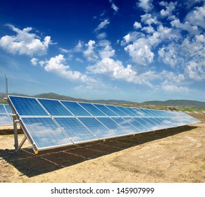 solar panels on the hilly terrain