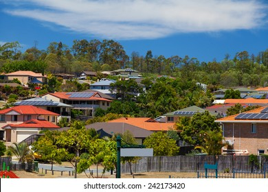 Solar panels on homes in Australian suburb