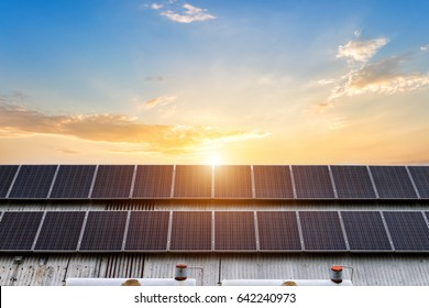 solar panels on a house roof background.