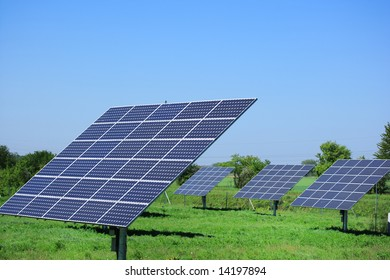 solar panels on meadow