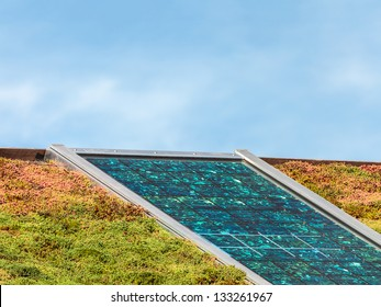Solar panels on a new roof covered with green and red sedum for isolation and heating