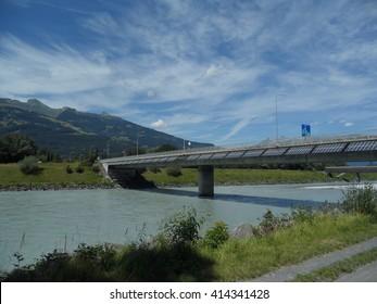 Solar panels on one of the border bridge Switzerland and Liechtenstein