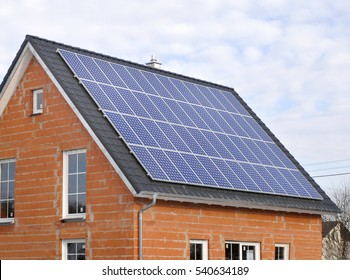 solar panels on residential house in construction