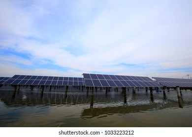 Solar panels on the river