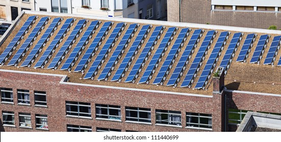 solar panels on the roof of administrative building